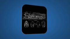 Vector Map intro - Old Train - Transition Blueprint - blue 02 Stock Footage