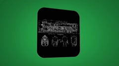 Vector Map intro - Old Train - Transition Blueprint - green 02 Stock Footage