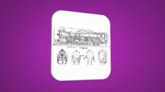 Vector Map intro - Old Train - Transition Blueprint - purple 01 - stock footage