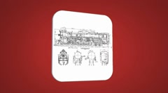 Vector Map intro - Old Train - Transition Blueprint - red 01 Stock Footage