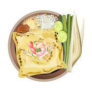 Pad Thai or Stir Fried Noodles Wrapped white Omelet Stock Illustration