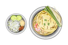 Pad Thai or Stir Fried Noodles Wrapped with Omelet Stock Illustration