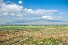 Stock Photo of Ararat mountain and field