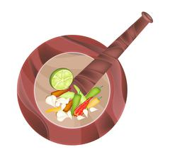 Stock Illustration of Chili, Garlic and Lime in Wooden Mortar