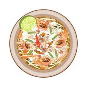 Plate of Green Papaya Salad with Dried Shrimps Stock Illustration