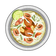 Plate of Green Papaya Salad with Shrimps Stock Illustration