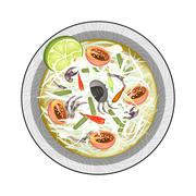 Green Papaya Salad with Fermented Salted Crabs Stock Illustration
