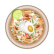 Green Papaya Salad with Fermented Salted Egg Stock Illustration