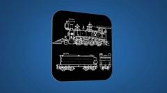 Vector Map intro - Locomotive - Transition Blueprint - blue 02 - stock footage
