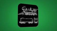 Vector Map intro - Locomotive - Transition Blueprint - green 02 - stock footage