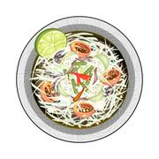 Green Papaya Salad with Salted Fish and Crabs Stock Illustration