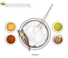 Ambuyat or Bruneian Steamed Sago Starch with Local Dishes Stock Illustration