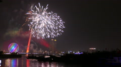 The Trần Thị Lý Bridge and Sun Wheel with fireworks celebrating Chinese New Year Stock Footage