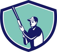 Hunter Holding Shotgun Rifle Crest Retro - stock illustration