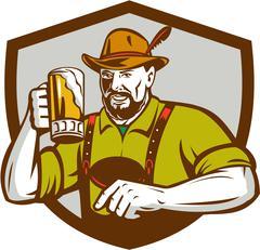Oktoberfest Bavarian Beer Drinker Shield Retro - stock illustration