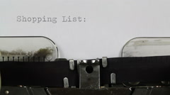 Typing Shopping List on Typewriter Stock Footage