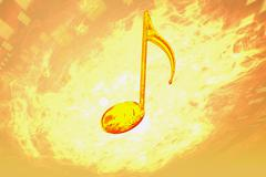music note firey concept abstract render image - stock illustration