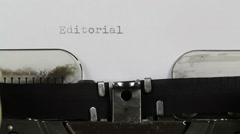 Typing Editorial on typewriter Stock Footage