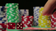 Lucky poker player catches royal flush, successful person wins a game, POV - stock footage