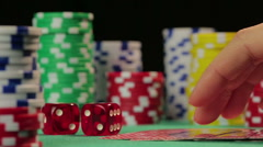 Successful poker player catches straight flush, gets a chance to defeat rivals - stock footage