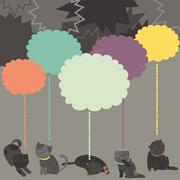 Monochrome cats with color Speech Bubble - stock illustration