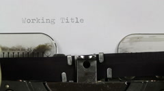 Working Title typewriter concept Stock Footage