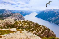 Mountains near the Preachers Pulpit Rock in fjord Lysefjord - Norway Stock Photos