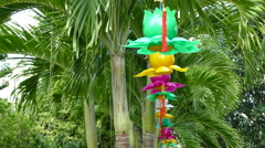 Lanterns at the palmtrees at the Chuc Thanh Pagoda in Hoi An Vietnam Stock Footage