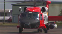 Helicopter taxiing front view Stock Footage