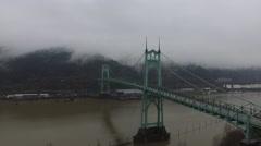 Aerial Portland Oregon St Johns Bridge On Overcast Day Stock Footage