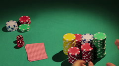 Reckless gambler betting all chips in poker game, wants to win big money, casino Stock Footage