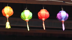 Colorful lanterns on a roof of a temple in Hoi An Vietnam Stock Footage