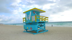 Lifeguard Tower Miami Beach 1st Street Stock Footage