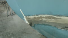 Sailboat damage after crash, keel fiberglass repair - stock footage