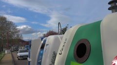 Recycling public containers, bins - France - panoramic down Stock Footage