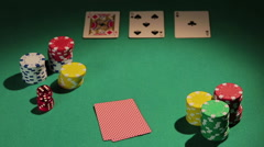 Poker professional checking cards, betting chips to raise bank, game strategy - stock footage
