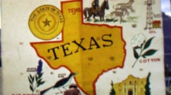 1967: Texas state sign oil cotton blue bonnett 12th World Scout Jamboree. Stock Footage
