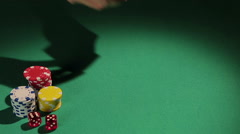 Female hands dealing cards to poker player, risky game to face challenge of fate Stock Footage