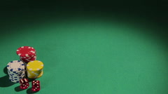 Dealer working for illegal casino, dealing cards to players, gambling business Stock Footage