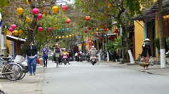 Traffic in the old town of Hoi An Vietnam Stock Footage