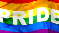 Gay Pride Flag waving Stock Footage