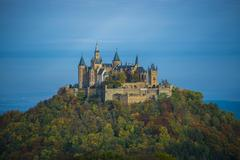 View from Zeller Horn lookout point Burg Hohenzollern in Hechingen - stock photo