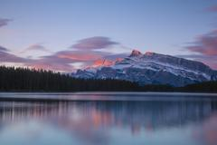 Two Jack Lake Mount Rundle Banff National Park Canadian Rockies Alberta - stock photo