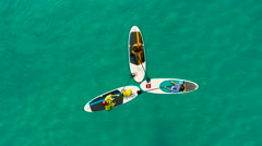 Stand Up Paddling Stock Footage