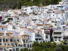 White houses in Frigiliana Costa del Sol Andalucia Spain Europe - stock photo