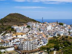 View of white houses in Frigiliana Costa del Sol Andalucia Spain Europe - stock photo