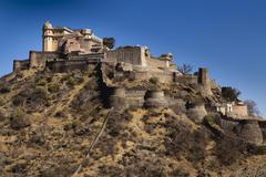 Kumbhalgarh Fort and the Indian Great Wall Kumbhalgarh Rajasthan India Asia - stock photo