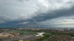 Panoramic video of storms in South Florida - stock footage