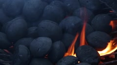 Charcoal Burns on Barbecue Grill Stock Video Stock Footage