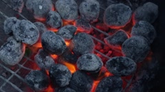 Glowing Embers on Barbecue Grill Stock Video - stock footage